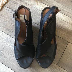 Black Leather Sling Back Platforms